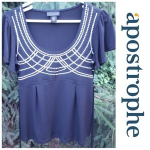 Apostrophe Black Flowy Top Embroidered Size Small